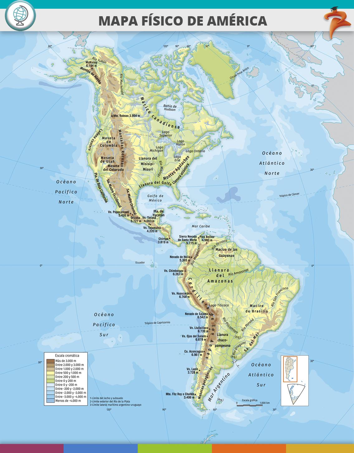Mapa Fisico De America.Mandioca Digital